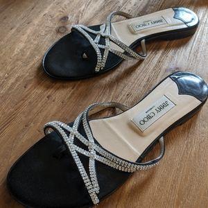 Jimmy Choo Shoes - Jimmy Choo Black Satin crystal choi flat